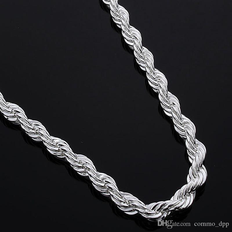 16-30inches 2MM 925 sterling silver twisted Rope chain necklace For women&men Fashion DIY Jewelry in Bulk