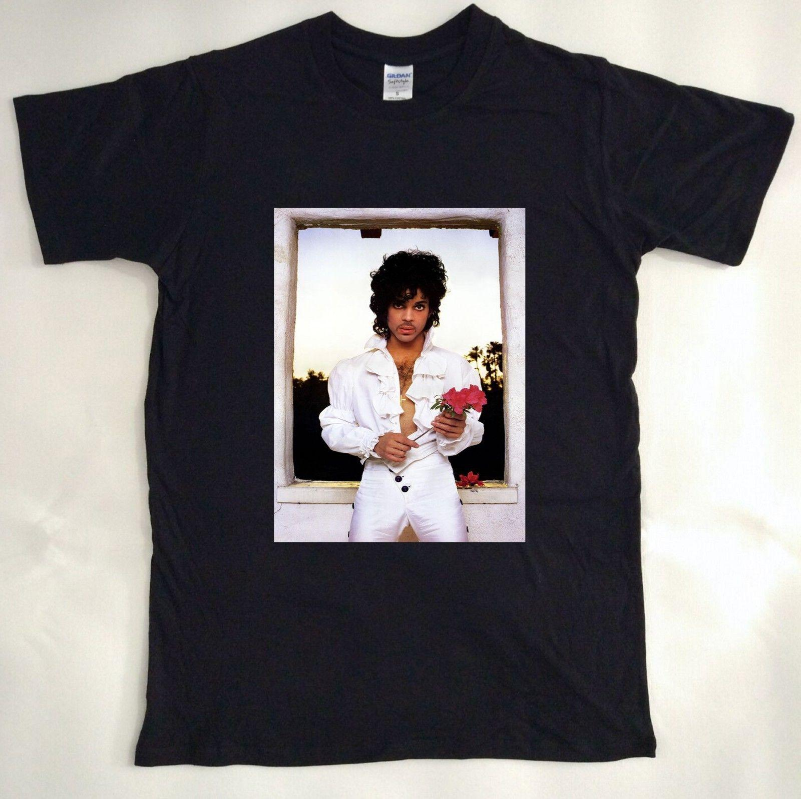 227d0a38d0b Vintage T Shirt 80s Prince Purple Rain Rose Tour Music For Men S-XL ...