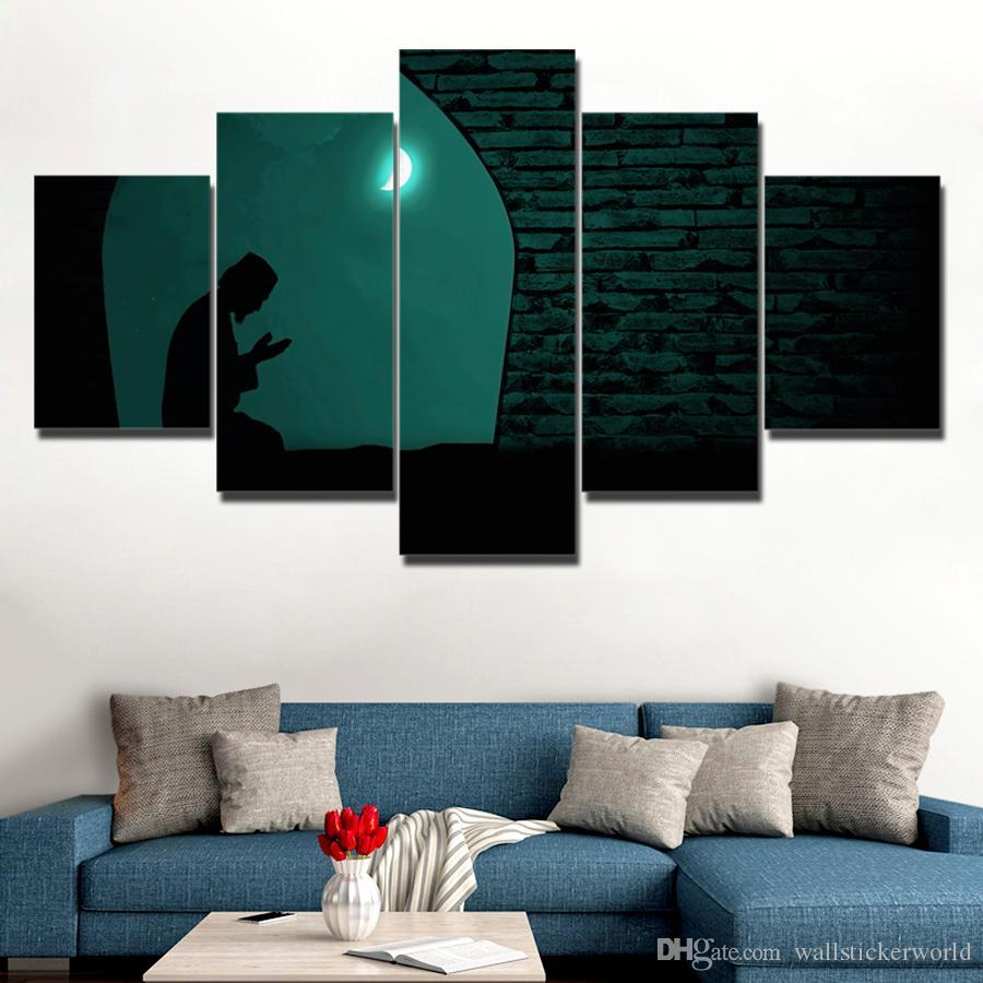 Canvas Paintings Home Decor Framework HD Prints Pictures Muslim Praying At Night Under The Moon Islam Poster Wall Art