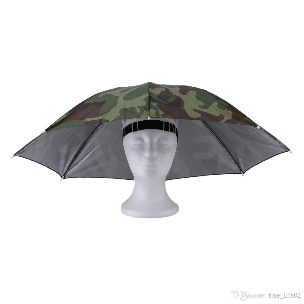 a8fed0db7f1 Wholesale Portable Outdoor Sports 69cm Umbrella Hat Cap Folding ...