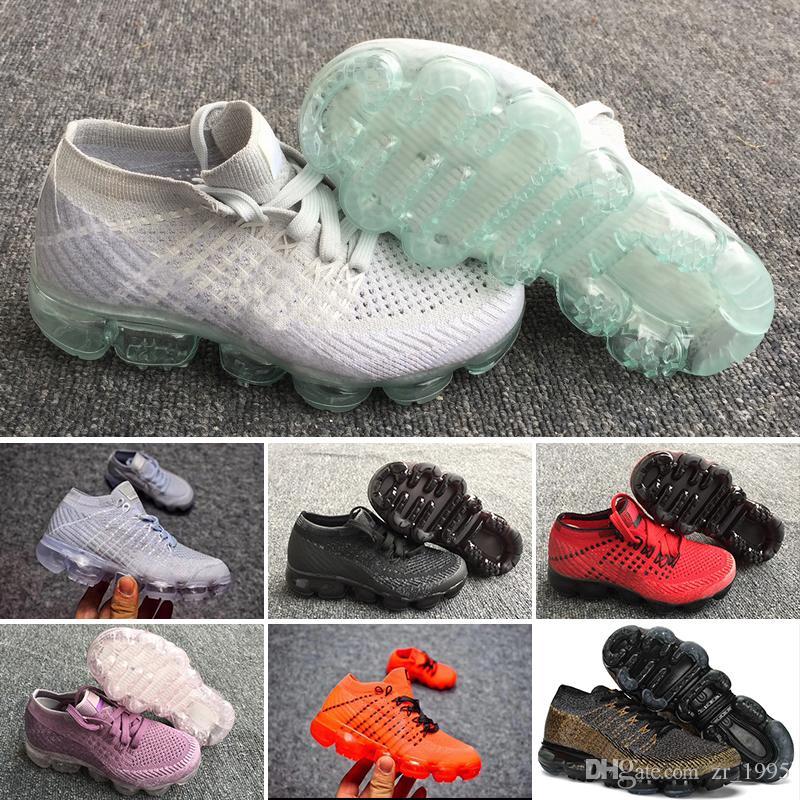 new styles 54665 f7376 Großhandel Nike Air Max Voparmax Kinder Schuhe 2018 Laufschuhe Kinder  Sportschuhe Baby Boy Girl Training Sport Turnschuhe Alle Schwarz Weiß Grau  Orange Lila ...