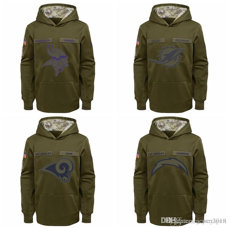 brand new a6e80 d1ad3 Kid Oakland Raiders New York Jets New York Giants Orleans Saints Youth  Salute to Service Pullover Performance Hoodie - Green