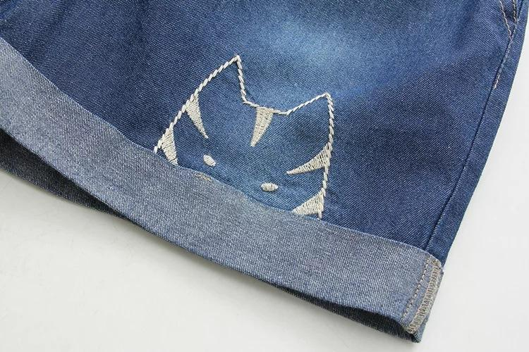 summer new funny female cats embroidery pattern loose denim jeans overalls women suspenders wide leg boots short jumpsuit