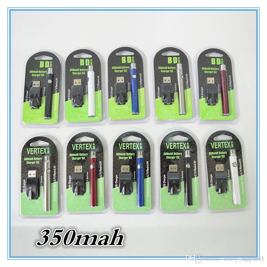 Vape Cartridges 510 Thread Battery Preriscaldare Vertex Battery Blister Pack 350mah Voltage VV Battery variabile per Thick Oil Atomizer Tank CE3