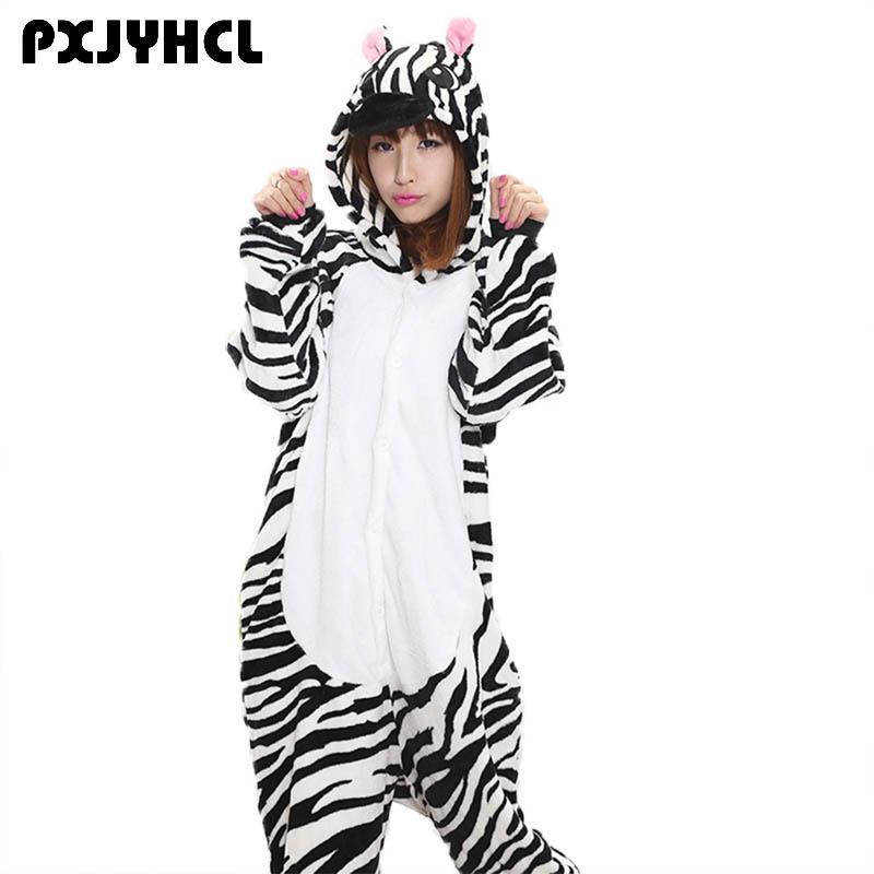 25a12f02b28a 2019 Anime Kigurumi Zebra Onesie Adult Women Sleepwear Costume Animal Bat  Pajamas Flannel Warm Loose Soft Nightgown Cosplay Pyjama From Hilery