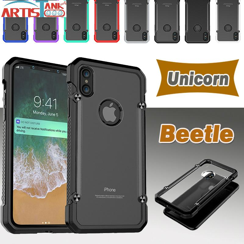 cheap for discount 5d353 aec2c Unicorn Beetle Case For iPhone X Hybrid Soft TPU + Hard Clear PC Protective  Cover For iPhone 8 7 6 6S Plus Armor Case