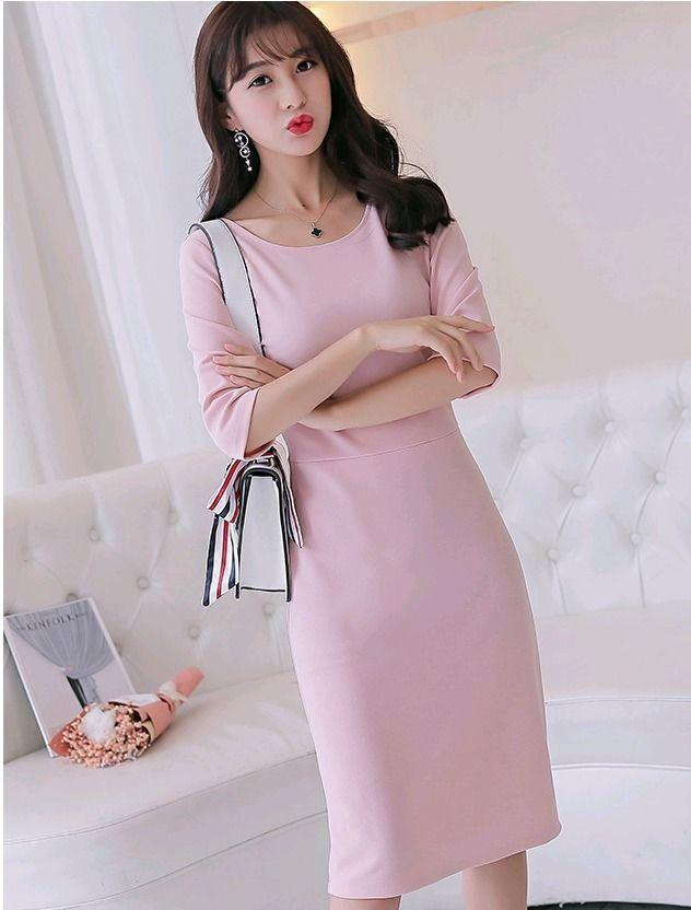 fd4b64a1d04 Casual Slim Long Korean Fashion 3 4 Sleeve Round Neck Spring Sweet Shift  Sexy Dress Online with  11.95 Piece on Angelsdress s Store