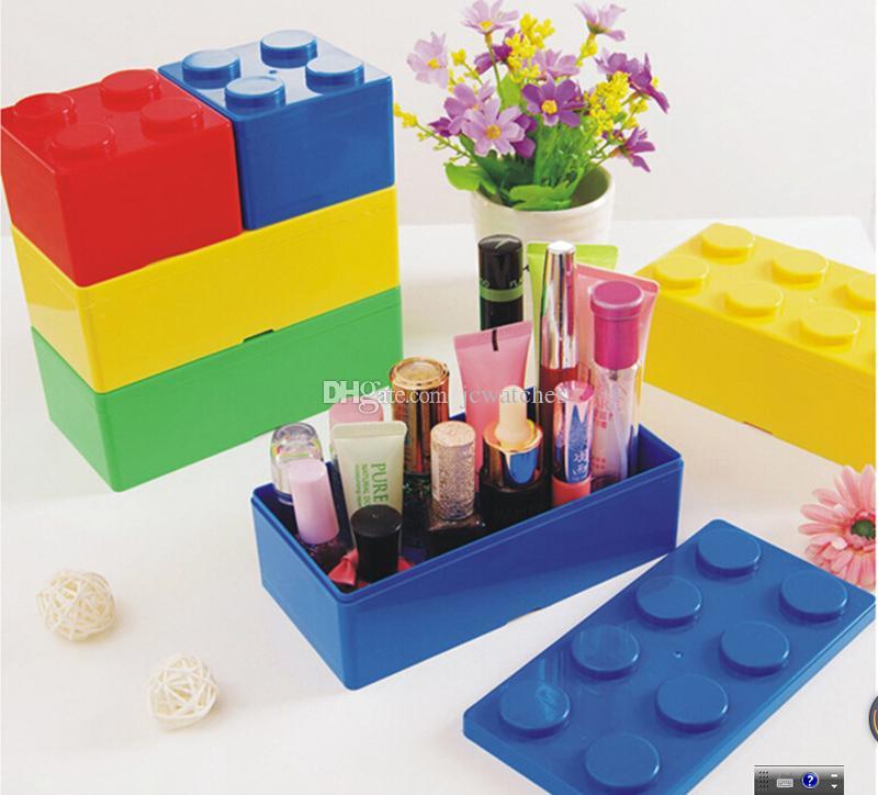 Bloc de construction Boîtes de stockage Boîtes de rangement en plastique pour économiser de l'espace Boîte de bureau Ordinateur de bureau commode Bureau Maison