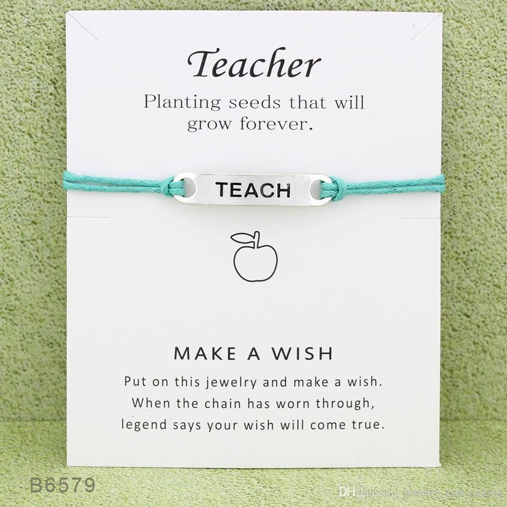 Silver Tone Teach Charm Bracelets & Bangles for Women Girls Teacher Adjustable Friendship Statement Jewelry With Card