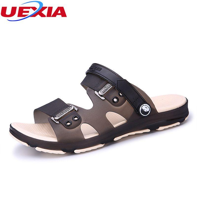 684455be63c4 Compre Uexia New Design Chegada Sandália Homens Sapatos Sandálias Dos  Homens Slip On Beach Sapatos De Água Para O Homem Chinelos Calçados  Masculinos Casuais ...