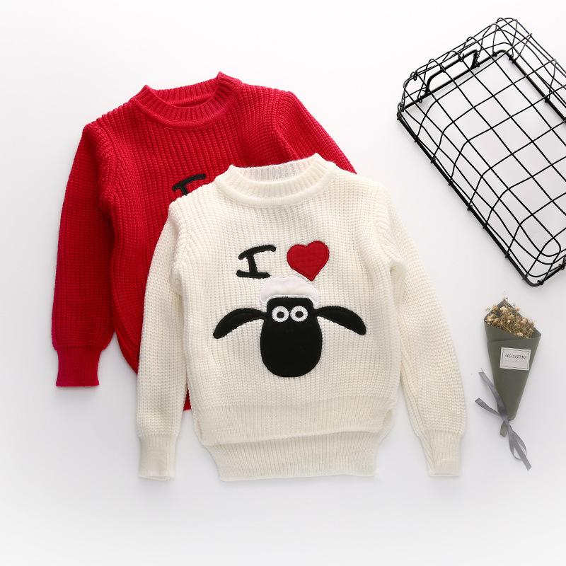 Retails Autumn Baby Girl Sweaters Heart Knitted Pullover Long
