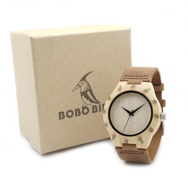 55c412849e6 Watch Brand 2017 TOP Brand BOBO BIRD Women S Watches Handmade Bamboo Watches  Leather Band Luxury Print Ladies Wood Watch C E01 Couple Watches Buy  Clothes ...