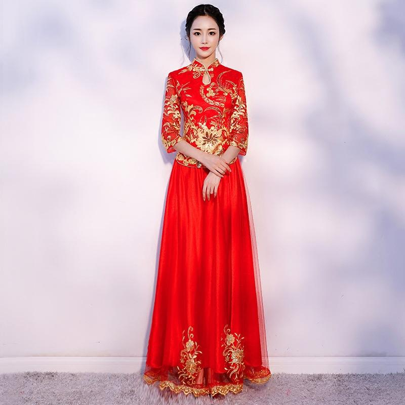 Chinese Wedding Dress.Sggtraditional Chinese Wedding Dress Red Bride Wedding Dresses Cheongsam Long Qipao Robe Chinoise Oriental Dresses Qi Pao