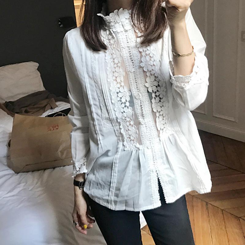 2019 Beautiful Lady Flower Lace Patchwork White Blouse Long Sleeve