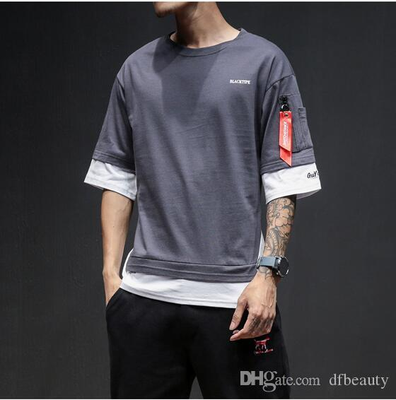 c839cf2a2891 2018 summer new men's t-shirt short sleeve hip hop large size loose T shirt  men's cotton fashion tide top tees