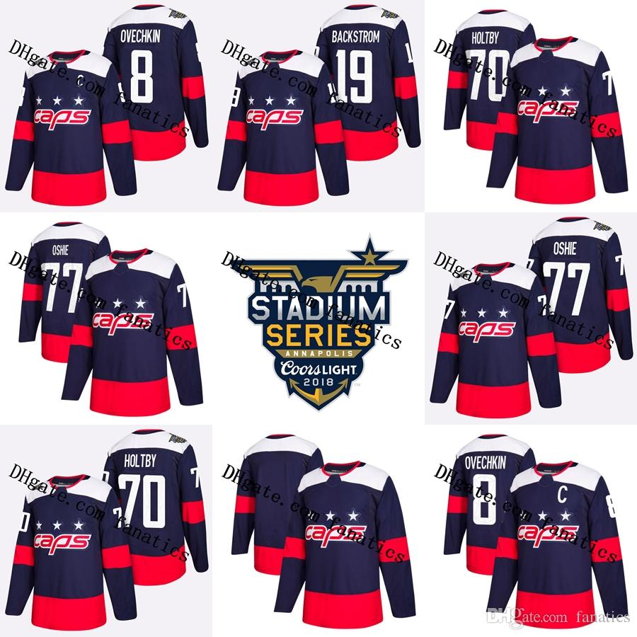 dd4108856 2019 2018 Stadium Series Stanley Cup Champions Final Washington Capitals  Alex Ovechkin TJ Oshie Braden Holtby Backstrom Blank Blue Hockey Jerseys  From ...