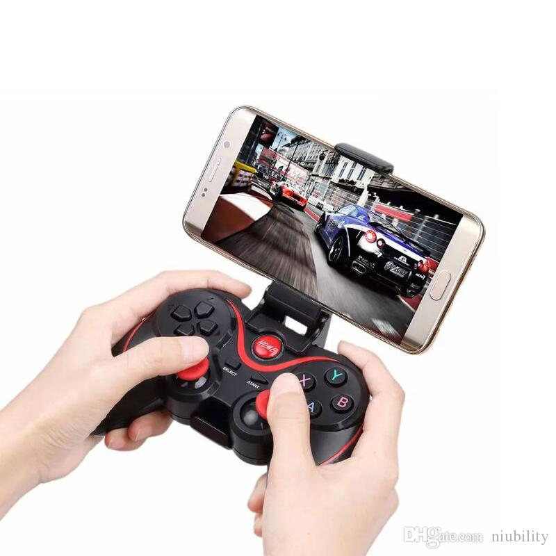 C8 Smartphone Game Controller Wireless Bluetooth Phone Gamepad Joystick for Phone/Pad/Android Tablet PC TV BOX+phone holder by niubility