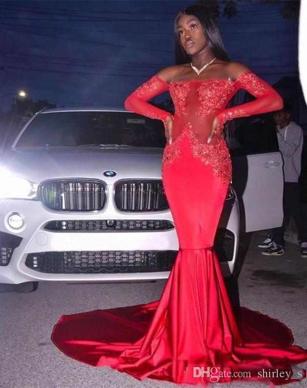 Black Girls Prom Dresses Mermaid 2019 Off Shoulder Sexy Sheer Lace