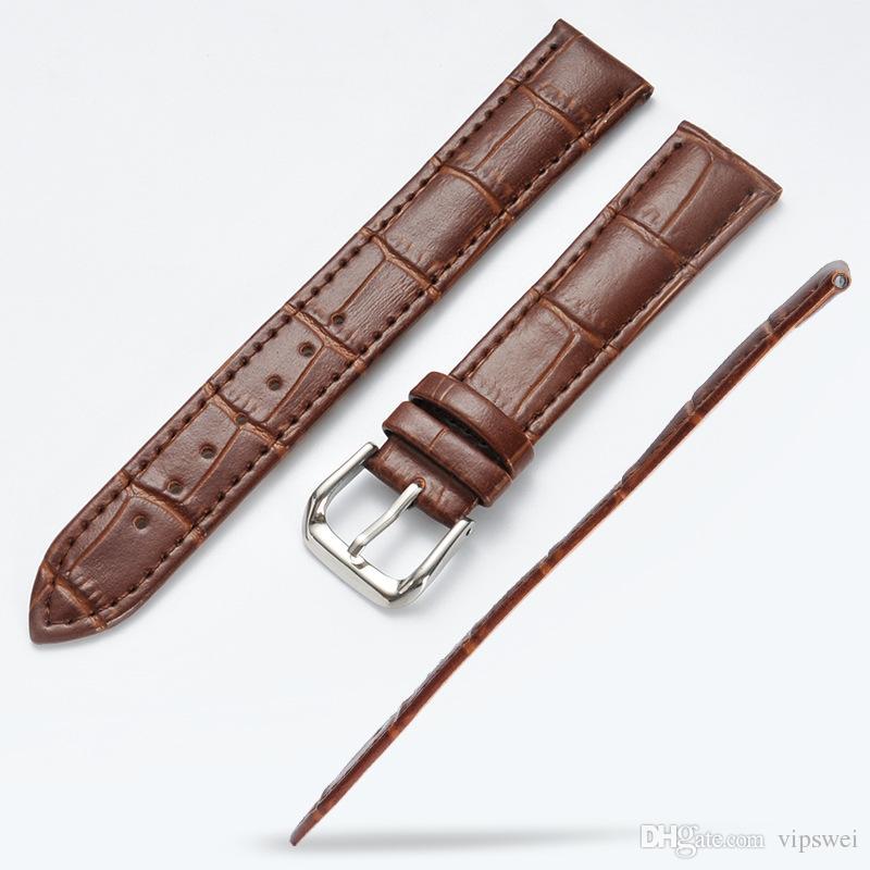 Moda Unissex slub em relevo couro Assista bracelete Empurre Needle Buckle 6 cores azul rosa vermelha branca marrom Aço preto Relógios fecho girl band