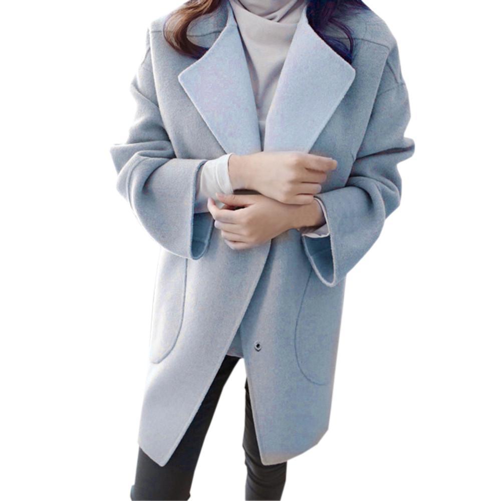 31e205c30 Winter Warm Women Woolen Coat Fashion Womens Ladies Solid Color ...