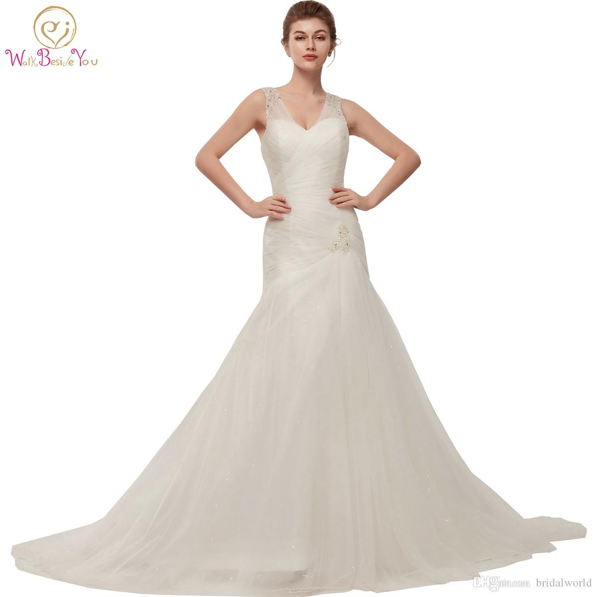 Walk Beside You Mermaid Wedding Gowns Robe Mariage 2018 White ...