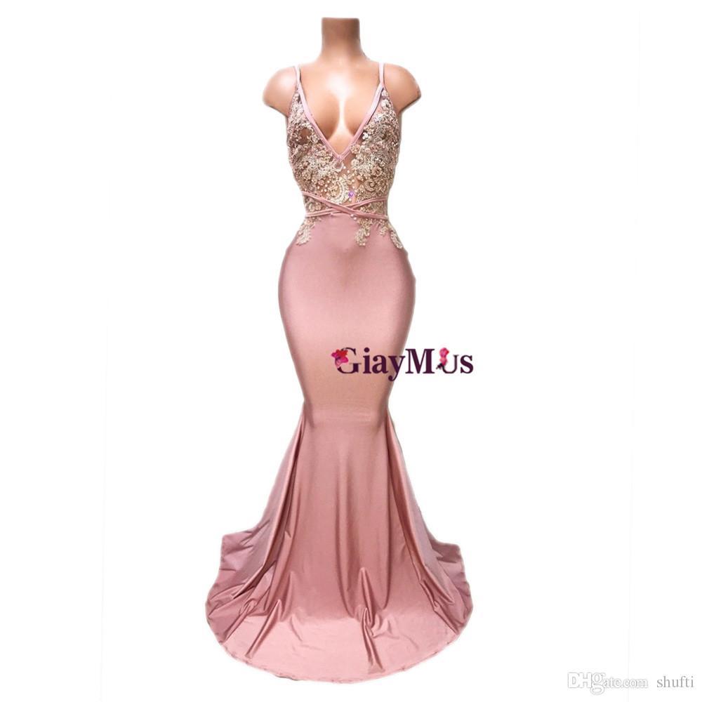GiayMus Sexy Party Dresses Spaghetti Mermaid Pink Evening Dress 2018 Deep V-Neck Prom Dresses Long Vestidos De Festa Arabian Dubai Dresses