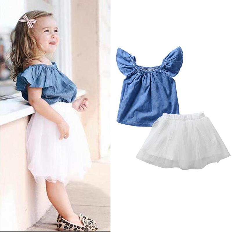 47c9e245c67 2019 Summer Baby Girls Dress Solid Color Ruffle Sleeve Denim Tops Baby Girls  Knee Length Cute Tulle Skirt Outfits Playsuits Sunsuits From Sophine14