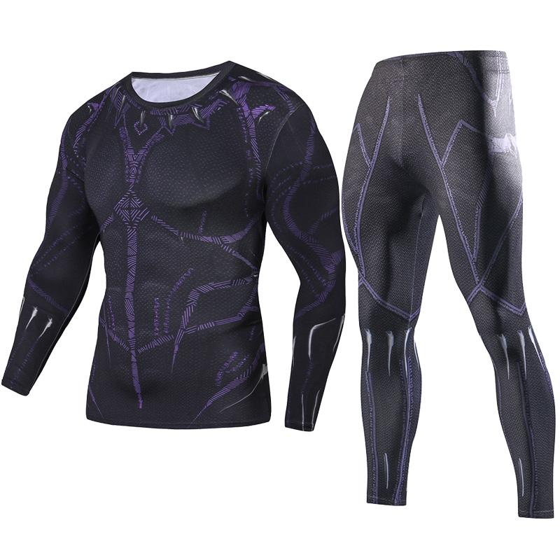 e0882d951 2018 Men Fitness Clothing Black Panther Set Fashion Set + Leggings Base  Layer Crossfit Sets 3D Print Full Compression Sets Vintage T Shirts Band T  Shirts .