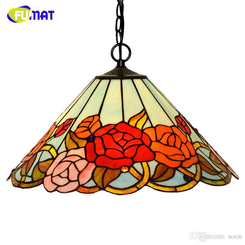 Suspension Tiffany fumat stained glass tiffany pendant light creative art fruit crown