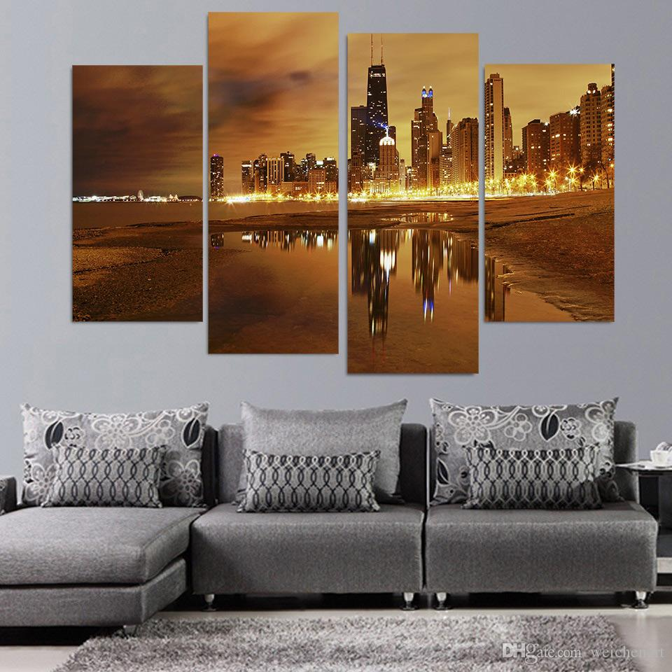 Salon 4 Adet Tuval Art City Şikago Night Lights HD Baskılı Ev Dekorasyonu Wall Art Poster Resmi Boyama Tuval