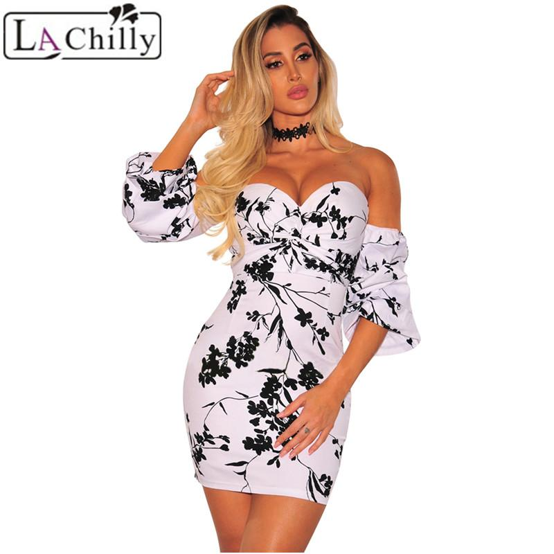 fefc6831a6444 La Chilly Moda Mujer 2018 Summer Dresses Robe Vintage White Black Floral  Sweetheart Sexy Off Shoulder Dress Beach Femme LC220357