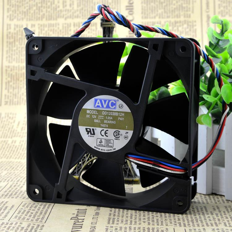 For Taiwan AVC DD12038B12H Air volume 110 CFM 12 cm 12038 Support PWM temperature control