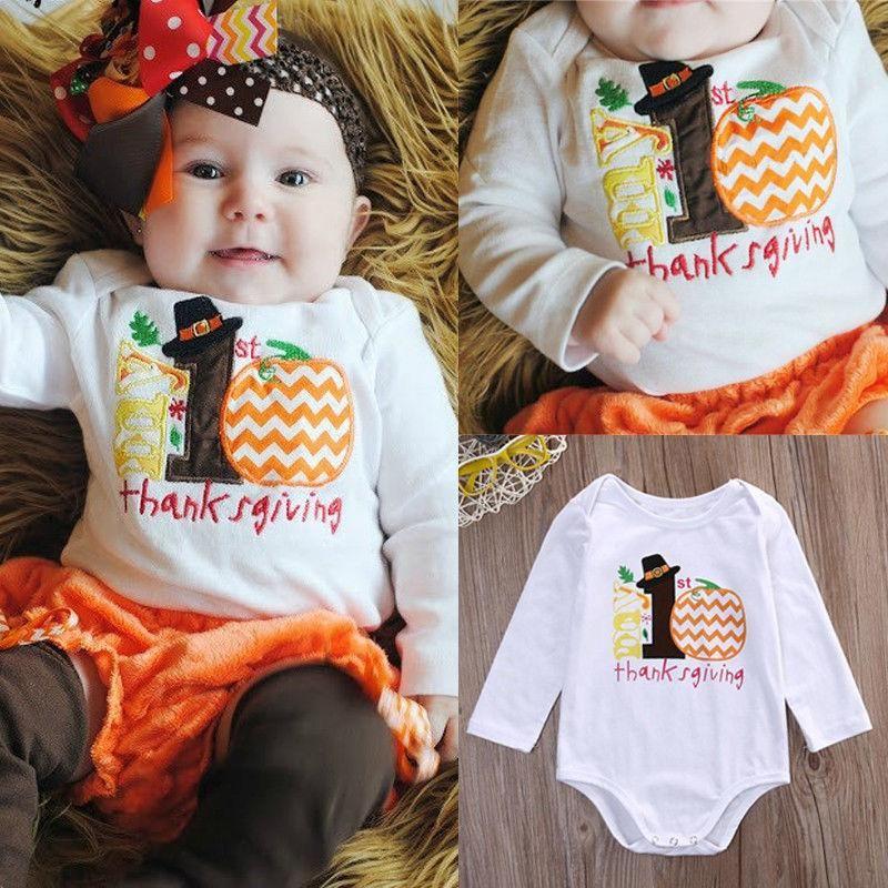 bb6f919644f 2019 Thanksgiving Cute Cotton Autumn Infant Kids Baby Girl Boy Clothes  Pumpkin Bodysuit Romper Sunsuit Outfits 0 12M From Super003