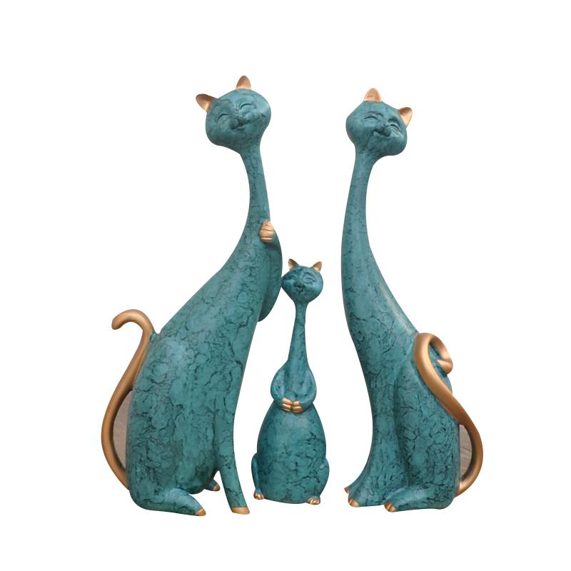2019 Modern Home Decor Figurines Hand Made Family Of Three Cats