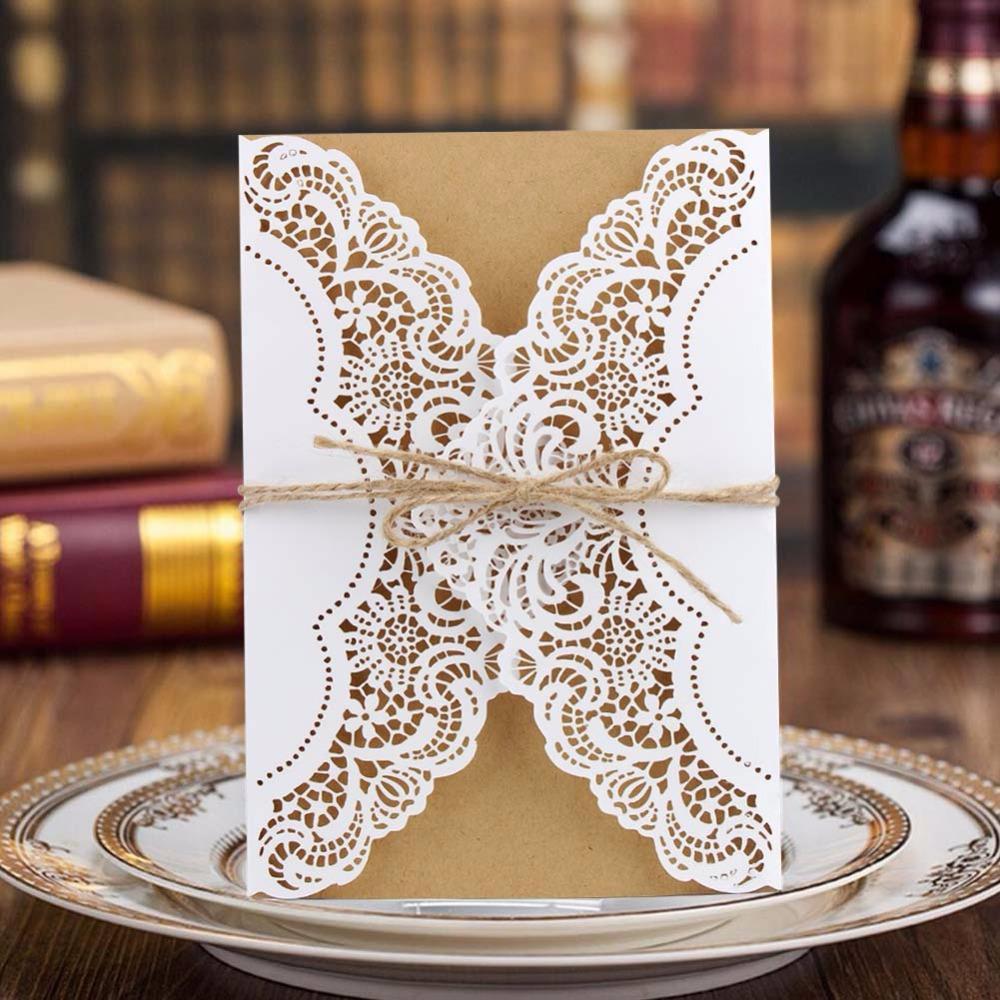Luxury Laser Cut Wedding Invitations Cards Envelope Vintage Elegant