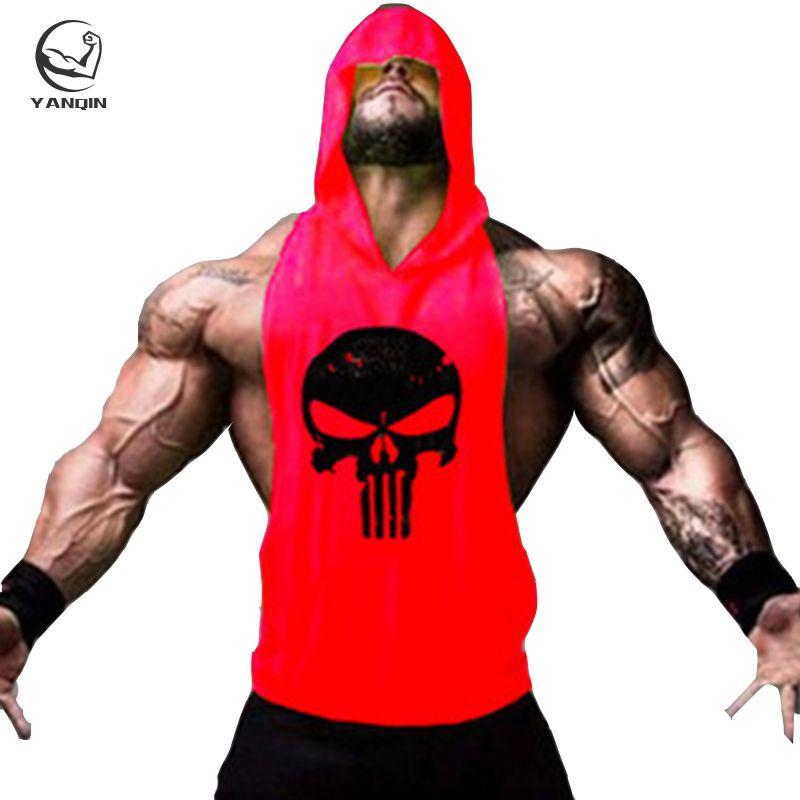 c34e43708c4bcc 2019 YANQIN Hooded Sleeveless Shirt Mens Fitness Hoodies Tanks Skull Shark  Logo Hoodies Cotton Tank Tops Men Muscle Slim Fit Vest From Firstcloth