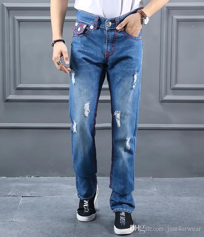 a7b3c586fe3a Fashion Brand Mens Jeans TRUE Ripped Red Line Design Slim Jeans RELIGION Man  Biker Distressed Long Pencil Pants Hommes Blue Jeans Canada 2019 From ...
