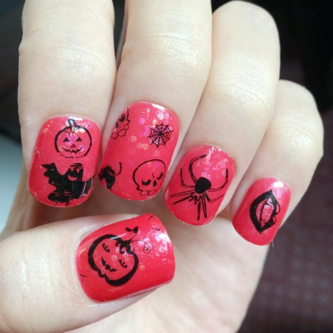 Halloween Theme Holographic Clear Nail Sticker Pumpkin Shantou