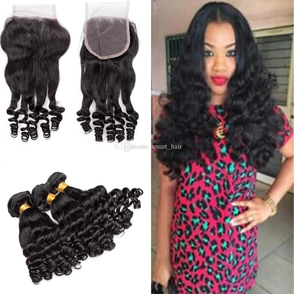 Aunty Funmi Curly Human Hair Weave Extensions With Lace Closure 4x4