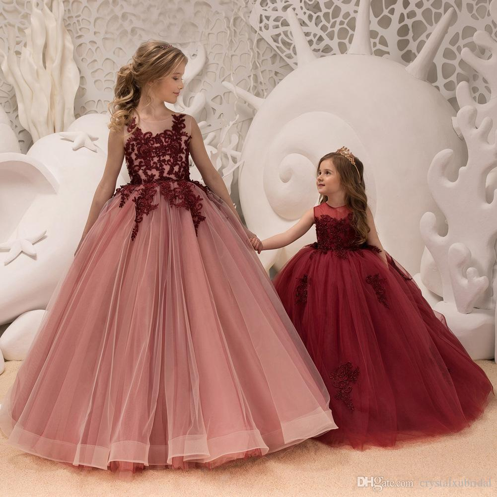 2018 Princess Flower Girls Dresses Jewel Neck Burgundy Lace Applique Crystal  Beaded Open Back Tulle Birthday Communion Girls Pageant Gown Bridesmaid And  ... 3dce3017ccfd