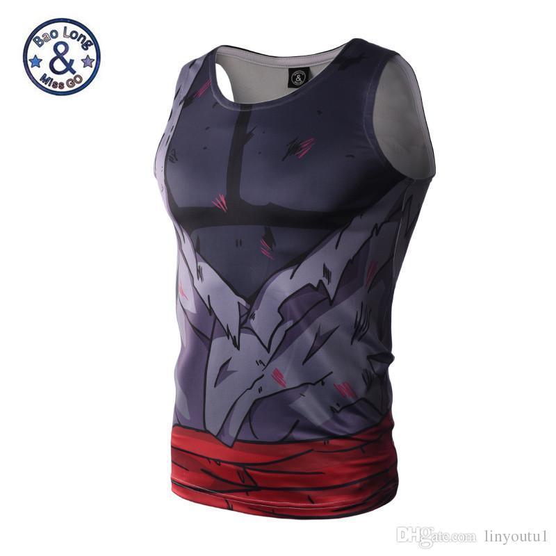 7096bc5419d2cd 2019 Men 3D Animation Compression Shirt Tight Fitting Dragon Ball Naruto Tank  Tops Summer Sleeveless T Shirt Bodybuilding From Linyoutu1