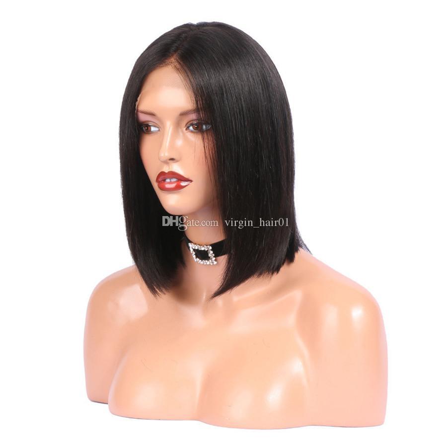 Virgin Peruvian Human Hair Bob Wig Glueless Wig Silk Straight Short Hair Bob Full Lace Wig Straight Front Lace Wigs For Women