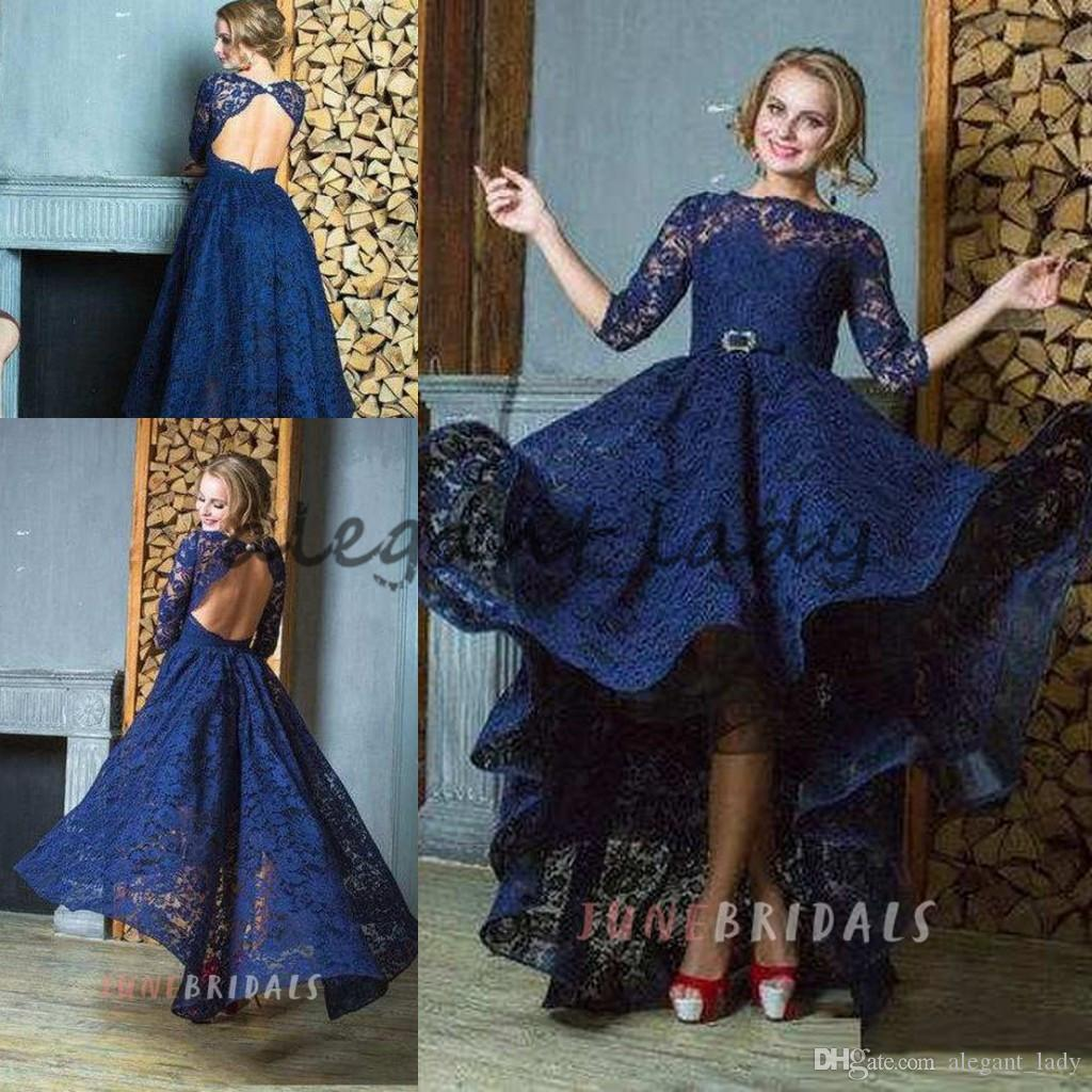 Navy Blue Lace Evening Dresses 2018 Morden 3/4 Long Sleeve High Neck High Low Keyhole Back puffy Skirt Plus Size Prom Gowns