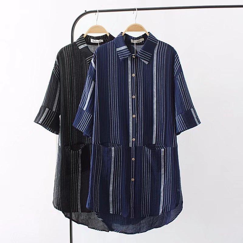 df99032f980d3d 2019 Plus Size Short Sleeve Cotton Linen Long Blouses Women 2018 Summer Dark  Blue & Black Striped Shirt Turn Down Collar Ladies Tops From Rykeri, ...
