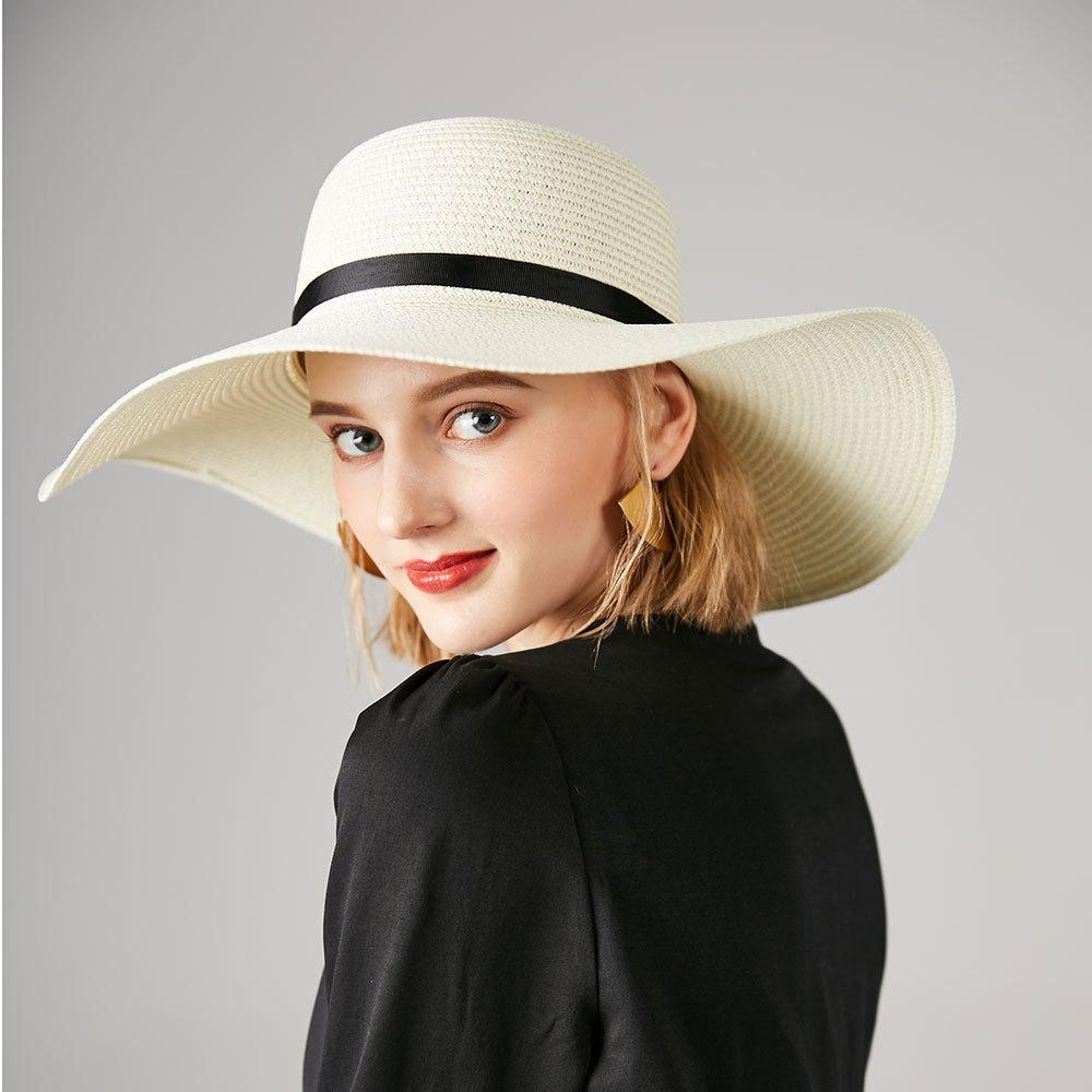 b79b0c064d4 Summer Straw Hat Women Big Wide Brim Beach Hat Sun Foldable Sun Block UV Protection  Panama Visor Bone Chapeu Feminino Winter Hats For Women Beach Hats From ...