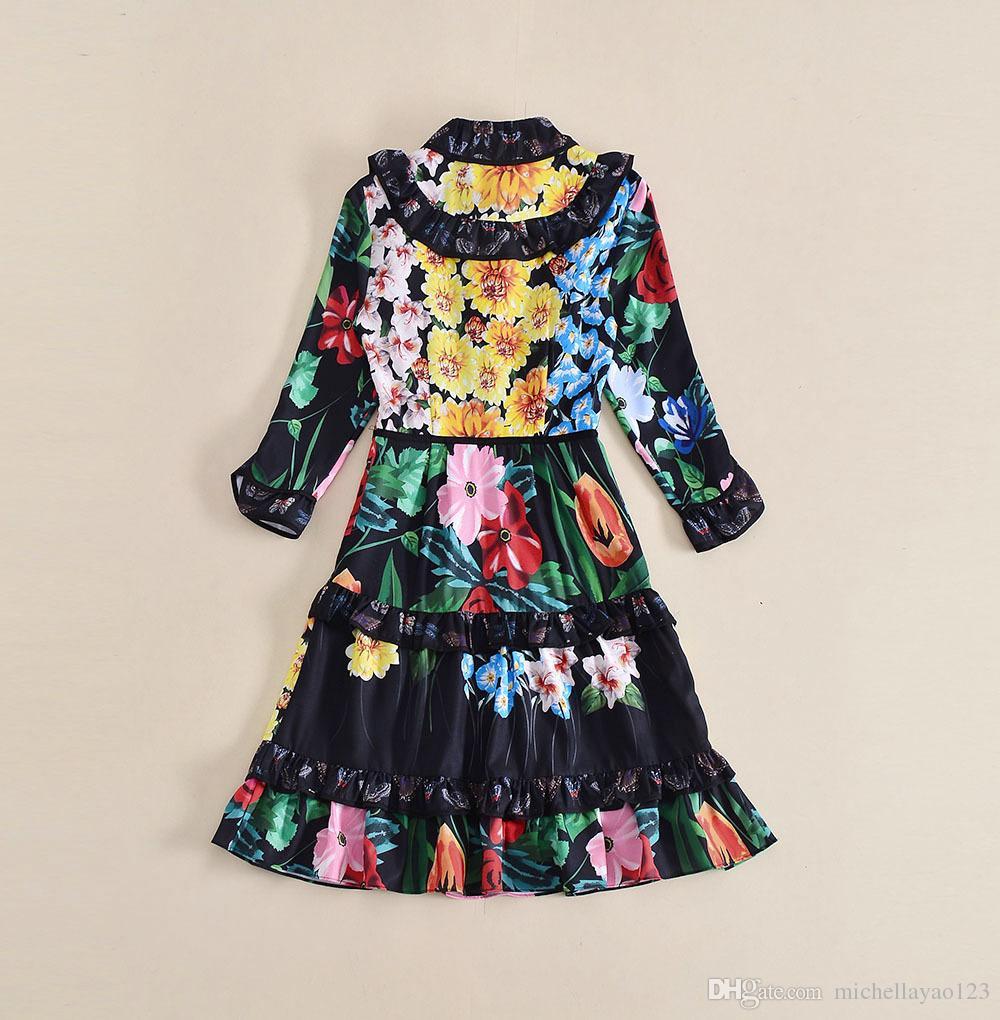 2018 Spring Runway Dress Print Cascade Ruffle Luxious mangas largas de las mujeres una línea vestido Vestidos De Festa 121213