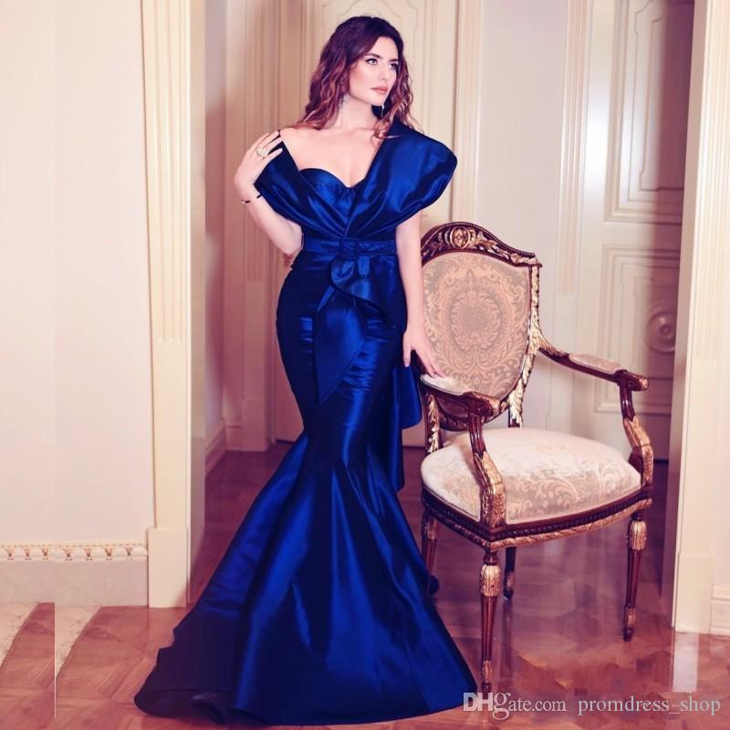 2019 Diamond-Blue Long Prom Dresses Sexy Off Shoulder Ruffles Ruched Mermaid Formal Evening Dress Saudi Arabia Celebrity Party Gowns