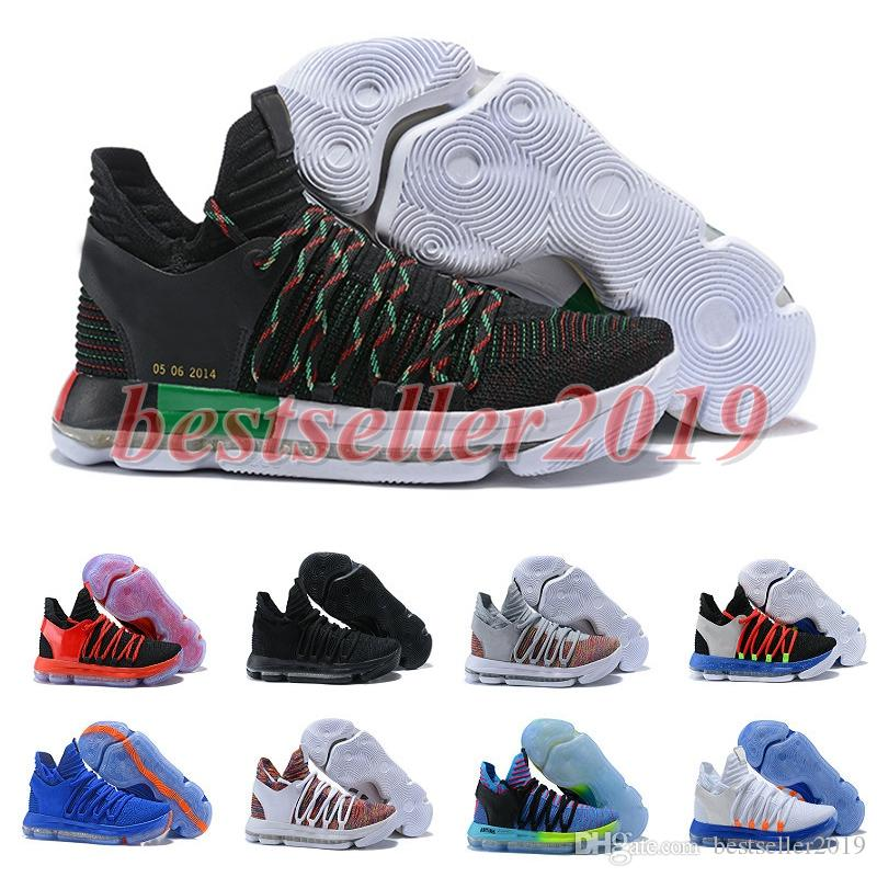 cheap for discount 75926 e92a2 2018 Correct Version KD 10 Zoom Basketball Shoes Men Trainers Kds 10 X  Elite Anniversary PE Multi-Color Oreo Be True UniversIty MVP Sneakers