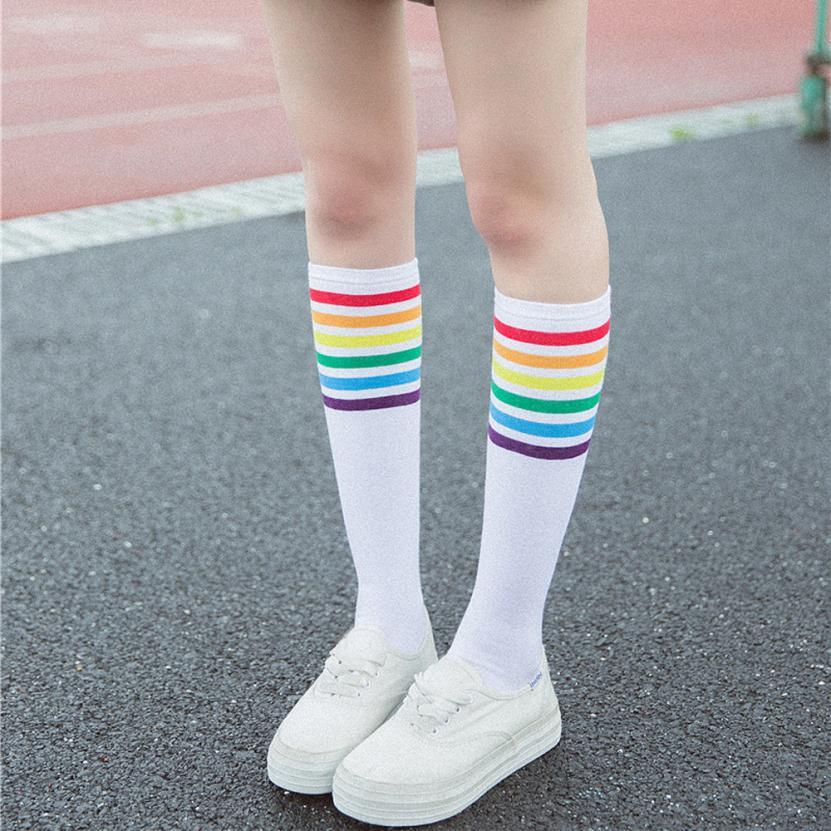 d2c1e6fa0fa Acheter Chaussettes Haute Qualité Cuisse Chaussettes Sur Genou Rainbow  Stripe Filles Longues Femmes Sur Genou Juillet10 De  34.78 Du Honjiao