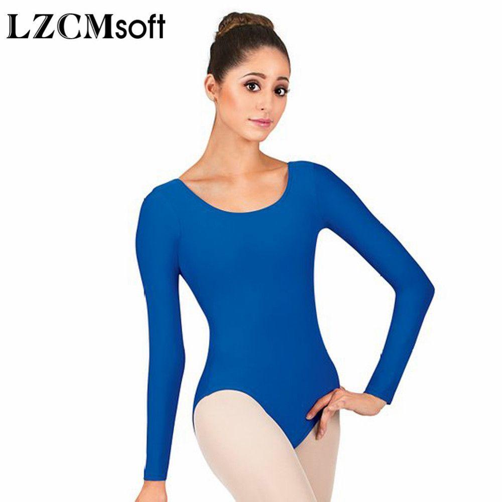 3724a5499c Compre LZCMsoft Mulheres Spandex Lycra Manga Longa Collant Para Dança Adulto  Azul Royal Colher Pescoço Ginástica Leotards Ballet Jumpsuit Classe De  Dolylove ...